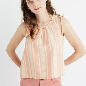 Madewell pink and white plaid sleeveless top